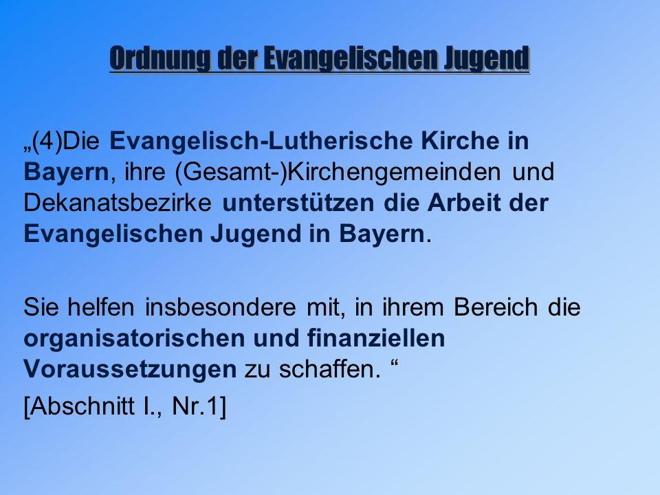 """""""(4)Die Evangelisch-Lutherische Kirche in Bayern, ihre (Gesamt-)Kirchengemeinden und Dekanatsbezirke unterstützen die Arbeit der Evangelischen Jugend in Bayern."""