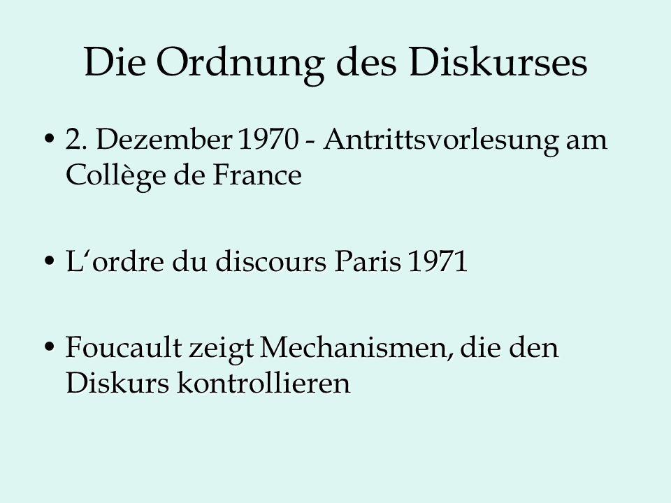 Die Ordnung des Diskurses 2. Dezember 1970 - Antrittsvorlesung am Collège de France L'ordre du discours Paris 1971L'ordre du discours Paris 1971 Fouca