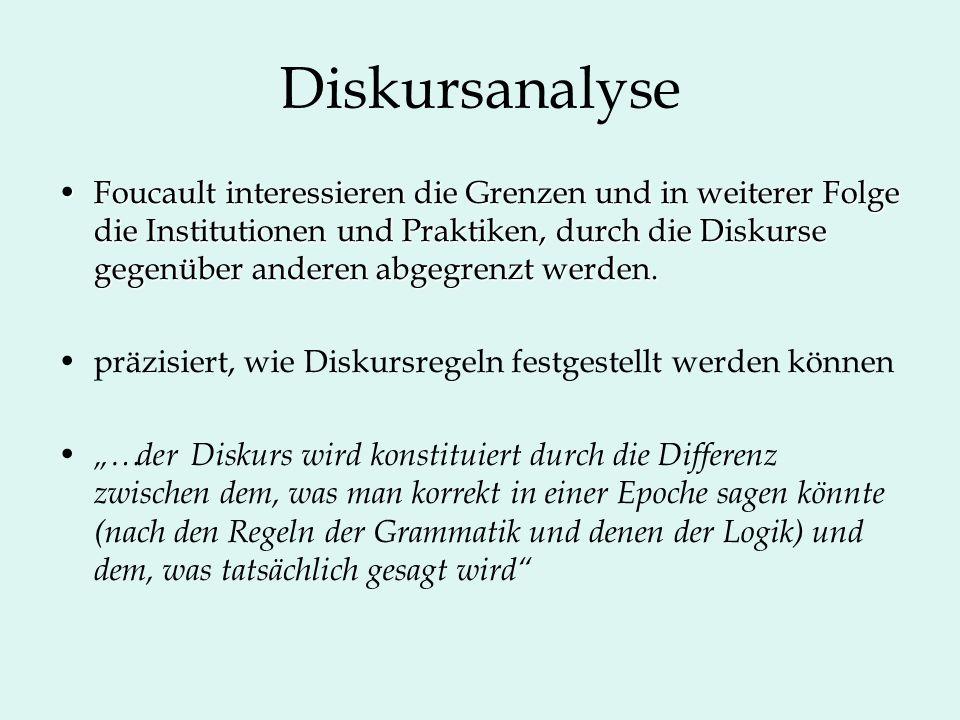 Diskursanalyse Foucault interessieren die Grenzen und in weiterer Folge die Institutionen und Praktiken, durch die Diskurse gegenüber anderen abgegren