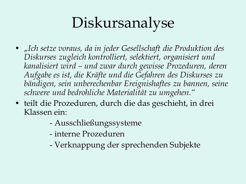 """Diskursanalyse """" Ich setze voraus, da in jeder Gesellschaft die Produktion des Diskurses zugleich kontrolliert, selektiert, organisiert und kanalisier"""