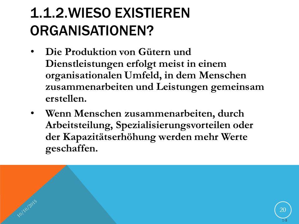 1.1.2.WIESO EXISTIEREN ORGANISATIONEN? Die Produktion von Gütern und Dienstleistungen erfolgt meist in einem organisationalen Umfeld, in dem Menschen