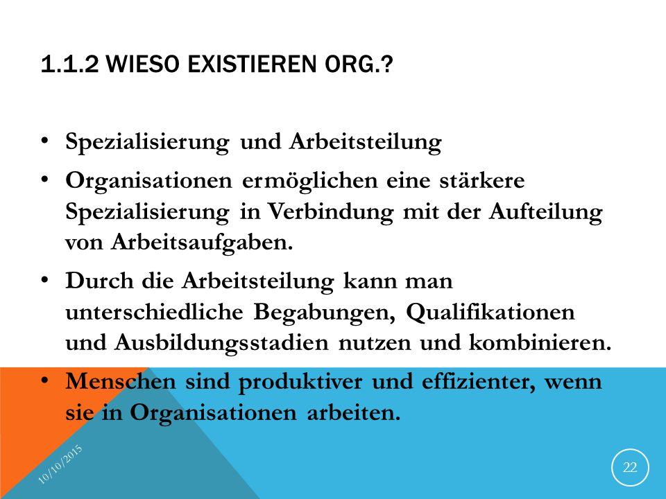 1.1.2 WIESO EXISTIEREN ORG.? Spezialisierung und Arbeitsteilung Organisationen ermöglichen eine stärkere Spezialisierung in Verbindung mit der Aufteil