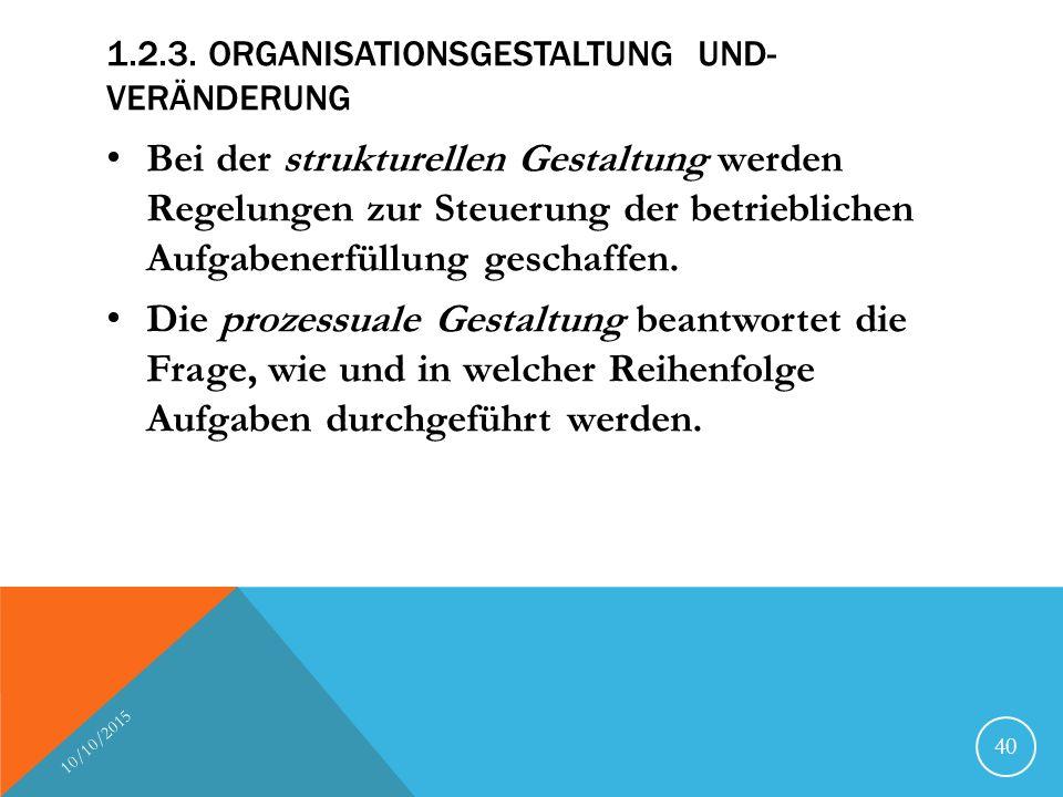 1.2.3. ORGANISATIONSGESTALTUNG UND- VERÄNDERUNG Bei der strukturellen Gestaltung werden Regelungen zur Steuerung der betrieblichen Aufgabenerfüllung g