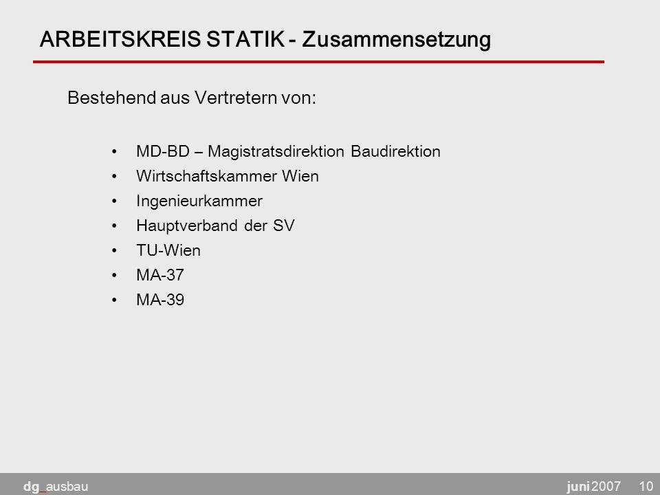 juni 2007dg_ausbau10 ARBEITSKREIS STATIK - Zusammensetzung MD-BD – Magistratsdirektion Baudirektion Wirtschaftskammer Wien Ingenieurkammer Hauptverband der SV TU-Wien MA-37 MA-39 Bestehend aus Vertretern von: