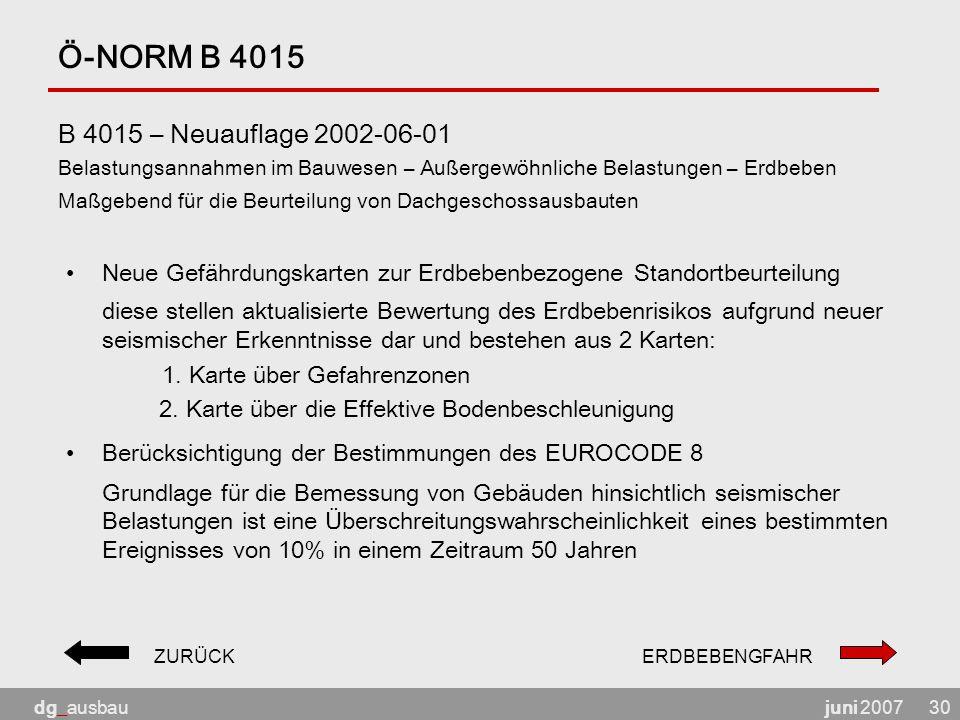 juni 2007dg_ausbau30 Ö-NORM B 4015 B 4015 – Neuauflage 2002-06-01 Belastungsannahmen im Bauwesen – Außergewöhnliche Belastungen – Erdbeben Maßgebend f