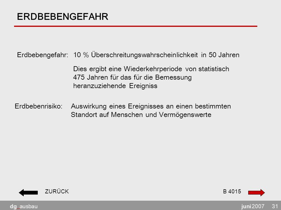juni 2007dg_ausbau31 ERDBEBENGEFAHR Erdbebengefahr: 10 % Überschreitungswahrscheinlichkeit in 50 Jahren Erdbebenrisiko: Auswirkung eines Ereignisses a