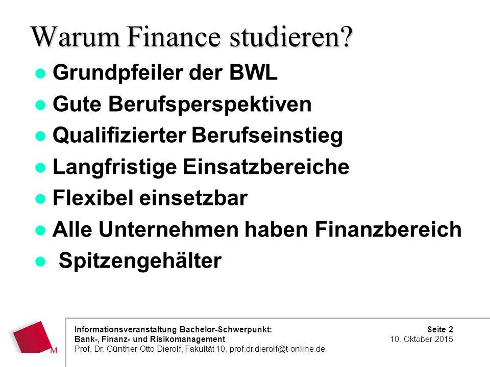 Seite 2 10. Oktober 2015 Informationsveranstaltung Bachelor-Schwerpunkt: Bank-, Finanz- und Risikomanagement Prof. Dr. Günther-Otto Dierolf, Fakultät