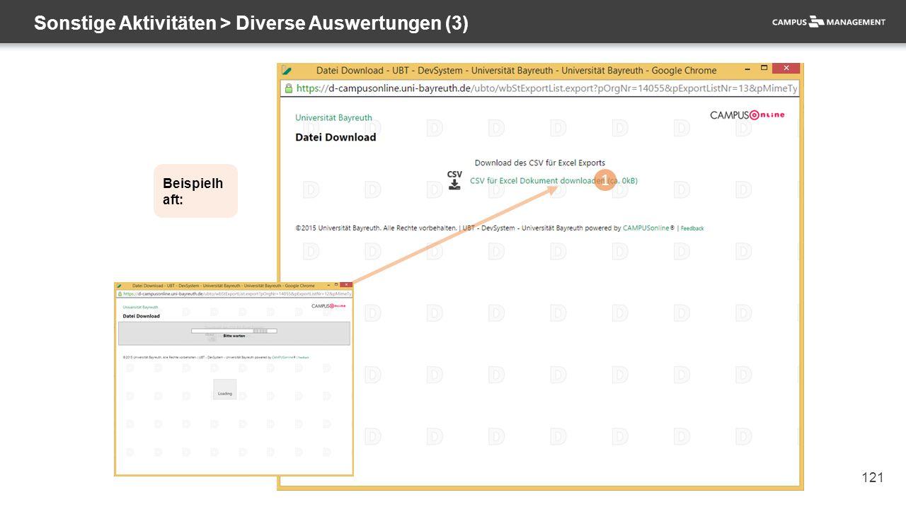 121 Sonstige Aktivitäten > Diverse Auswertungen (3) 1 Beispielh aft: