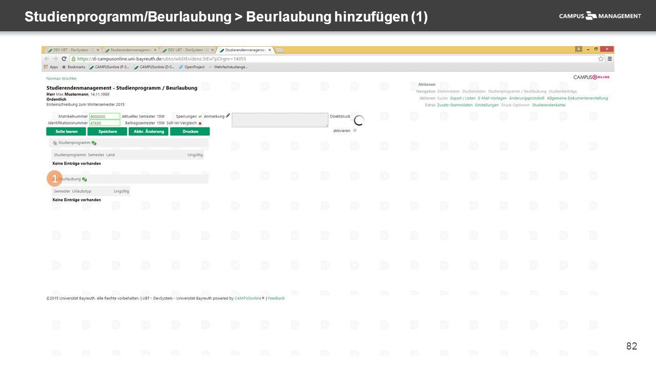 82 Studienprogramm/Beurlaubung > Beurlaubung hinzufügen (1) 1