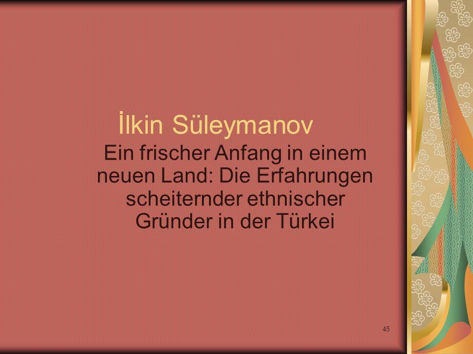 45 İlkin Süleymanov Ein frischer Anfang in einem neuen Land: Die Erfahrungen scheiternder ethnischer Gründer in der Türkei