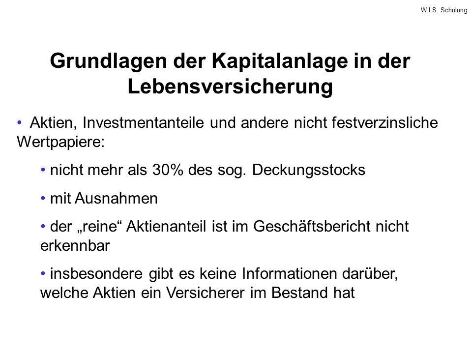 W.I.S. Schulung Grundlagen der Kapitalanlage in der Lebensversicherung Aktien, Investmentanteile und andere nicht festverzinsliche Wertpapiere: nicht