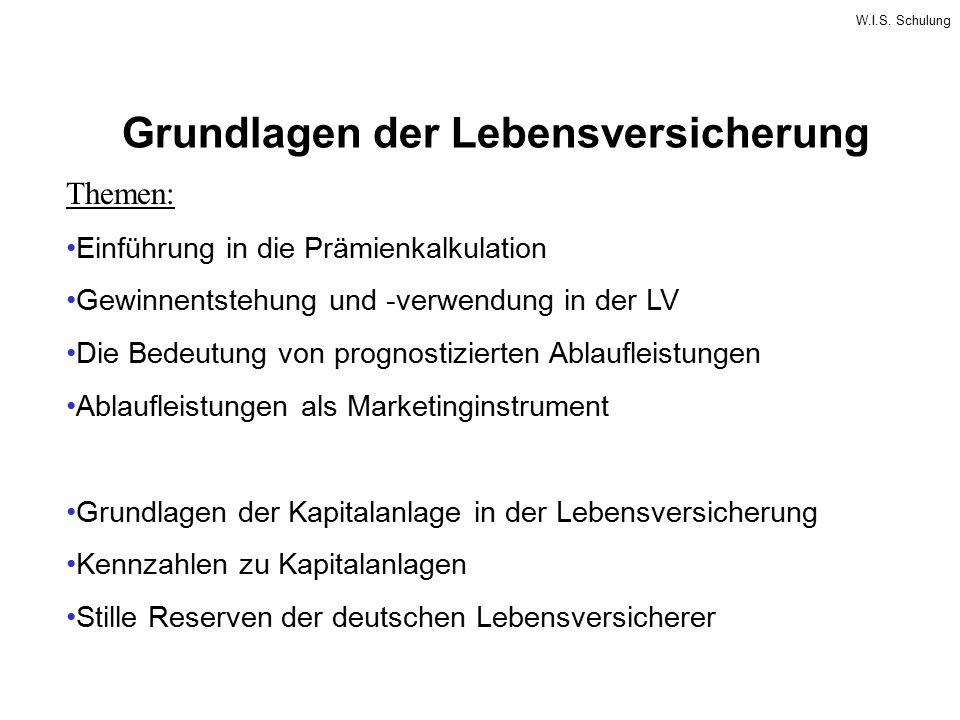 W.I.S. Schulung Grundlagen der Lebensversicherung Themen: Einführung in die Prämienkalkulation Gewinnentstehung und -verwendung in der LV Die Bedeutun