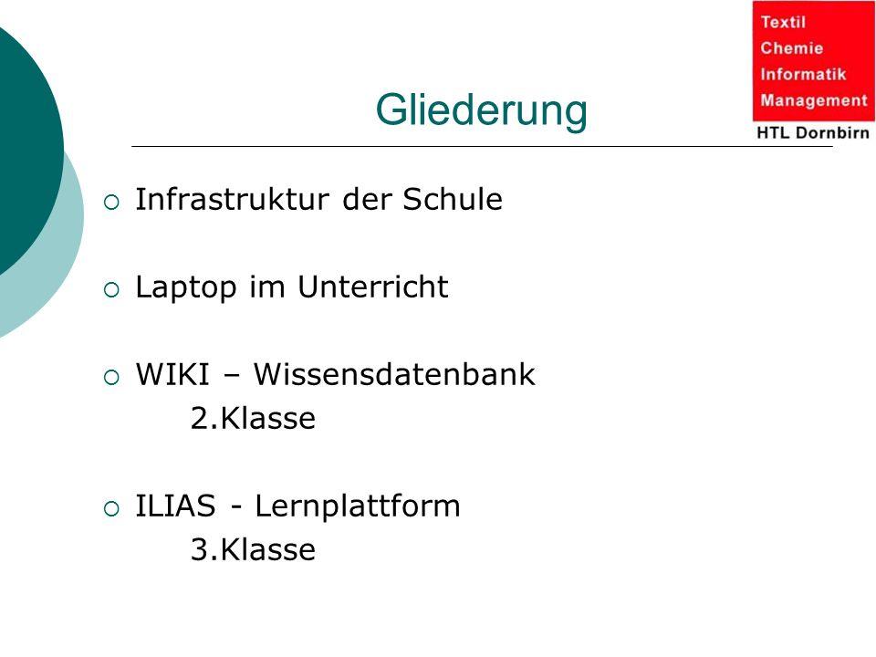 Gliederung  Infrastruktur der Schule  Laptop im Unterricht  WIKI – Wissensdatenbank 2.Klasse  ILIAS - Lernplattform 3.Klasse