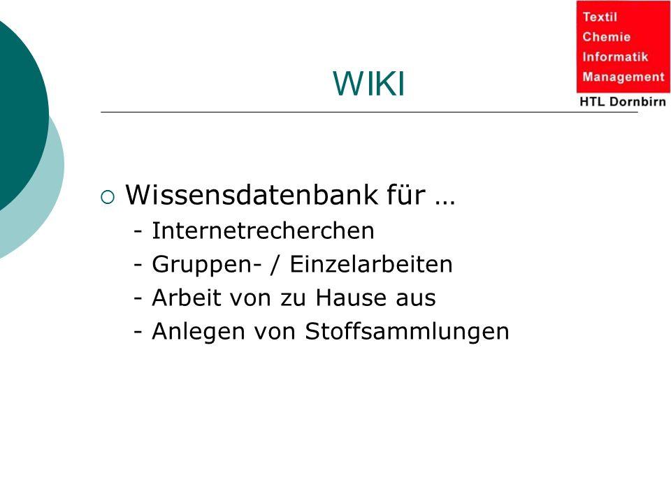 WIKI  Wissensdatenbank für … - Internetrecherchen - Gruppen- / Einzelarbeiten - Arbeit von zu Hause aus - Anlegen von Stoffsammlungen