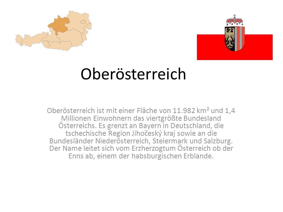 Oberösterreich Oberösterreich ist mit einer Fläche von 11.982 km² und 1,4 Millionen Einwohnern das viertgrößte Bundesland Österreichs.