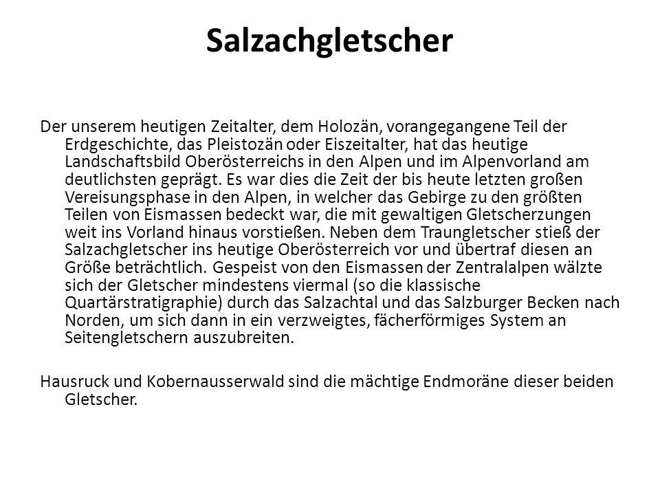 Salzachgletscher Der unserem heutigen Zeitalter, dem Holozän, vorangegangene Teil der Erdgeschichte, das Pleistozän oder Eiszeitalter, hat das heutige Landschaftsbild Oberösterreichs in den Alpen und im Alpenvorland am deutlichsten geprägt.