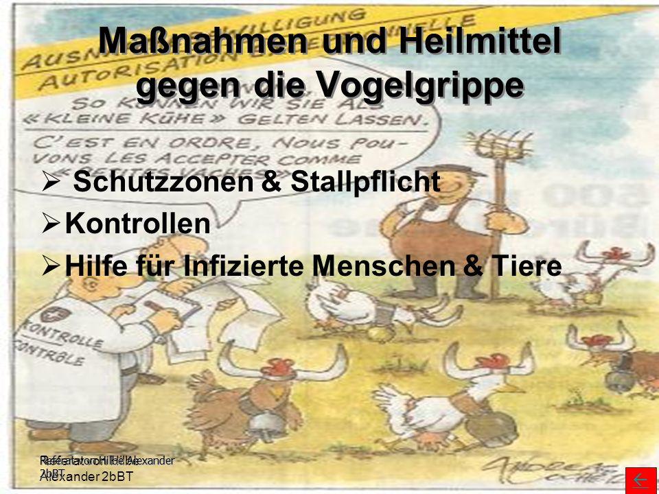 Referat von Hilbe Alexander 2bBT Maßnahmen und Heilmittel gegen die Vogelgrippe  Schutzzonen & Stallpflicht  Kontrollen  Hilfe für Infizierte Mensc