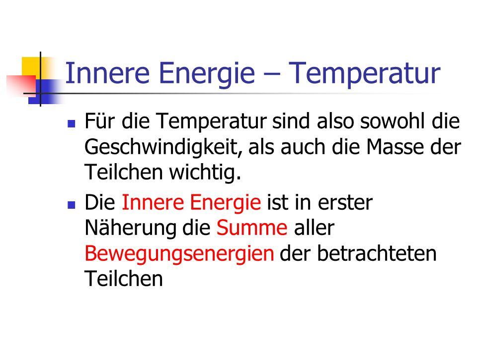Innere Energie – Temperatur Bei genauerer Betrachtung muss auch noch die in anderer Energieform in den Teilchen gespeicherte Energie hinzugezählt werden.