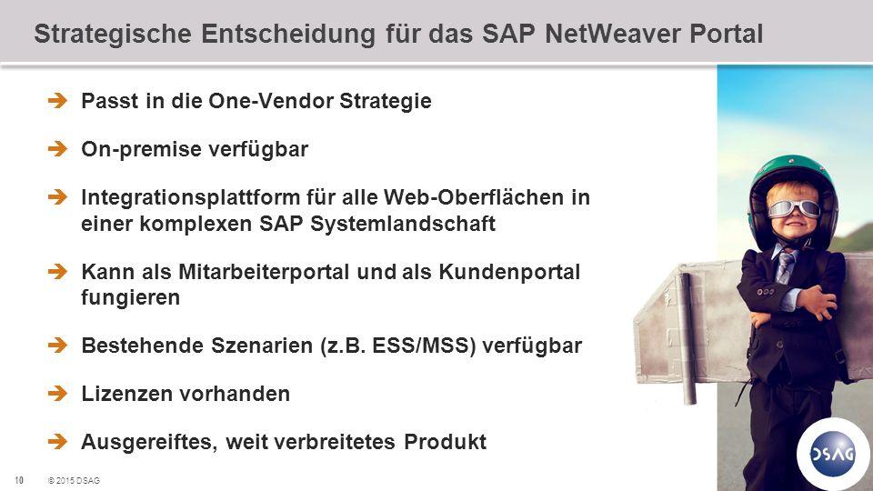 10 © 2015 DSAG Strategische Entscheidung für das SAP NetWeaver Portal  Passt in die One-Vendor Strategie  On-premise verfügbar  Integrationsplattfo