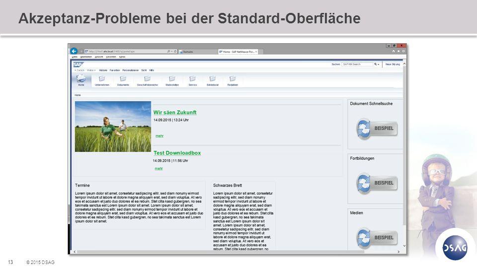 13 © 2015 DSAG Akzeptanz-Probleme bei der Standard-Oberfläche