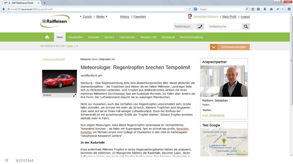 15 © 2015 DSAG Portal-Theme mit HTML5 und SAPUI5