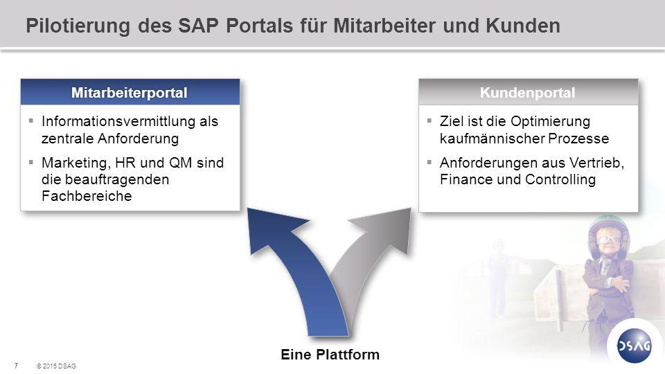 7 © 2015 DSAG Pilotierung des SAP Portals für Mitarbeiter und Kunden Kundenportal  Ziel ist die Optimierung kaufmännischer Prozesse  Anforderungen a