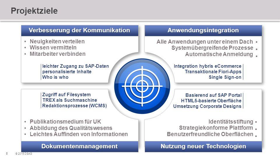 8 © 2015 DSAG Projektziele Neuigkeiten verteilen Wissen vermitteln Mitarbeiter verbinden Neuigkeiten verteilen Wissen vermitteln Mitarbeiter verbinden