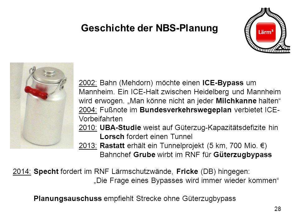 """28 Geschichte der NBS-Planung 2002: Bahn (Mehdorn) möchte einen ICE-Bypass um Mannheim. Ein ICE-Halt zwischen Heidelberg und Mannheim wird erwogen. """"M"""