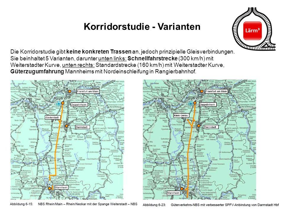 31 Korridorstudie - Varianten Die Korridorstudie gibt keine konkreten Trassen an, jedoch prinzipielle Gleisverbindungen. Sie beinhaltet 5 Varianten, d