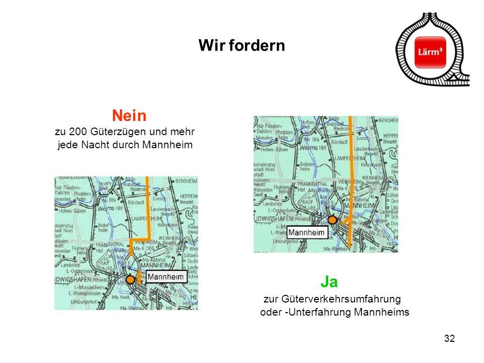 32 Wir fordern Nein zu 200 Güterzügen und mehr jede Nacht durch Mannheim Ja zur Güterverkehrsumfahrung oder -Unterfahrung Mannheims