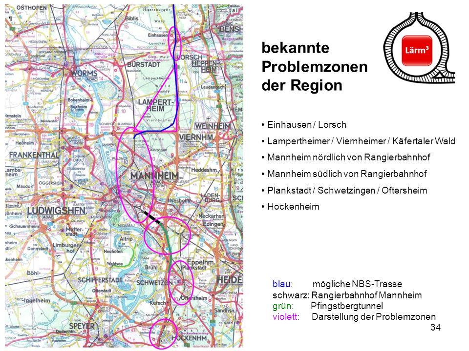 34 Einhausen / Lorsch Lampertheimer / Viernheimer / Käfertaler Wald Mannheim nördlich von Rangierbahnhof Mannheim südlich von Rangierbahnhof Plankstad