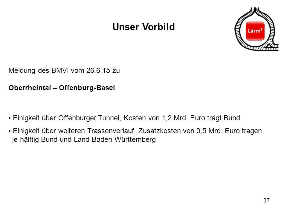 37 Unser Vorbild Meldung des BMVI vom 26.6.15 zu Oberrheintal – Offenburg-Basel Einigkeit über Offenburger Tunnel, Kosten von 1,2 Mrd. Euro trägt Bund