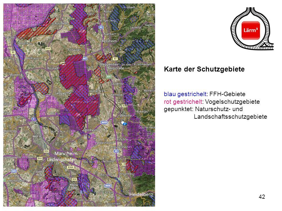 42 Karte der Schutzgebiete blau gestrichelt: FFH-Gebiete rot gestrichelt: Vogelschutzgebiete gepunktet: Naturschutz- und Landschaftsschutzgebiete
