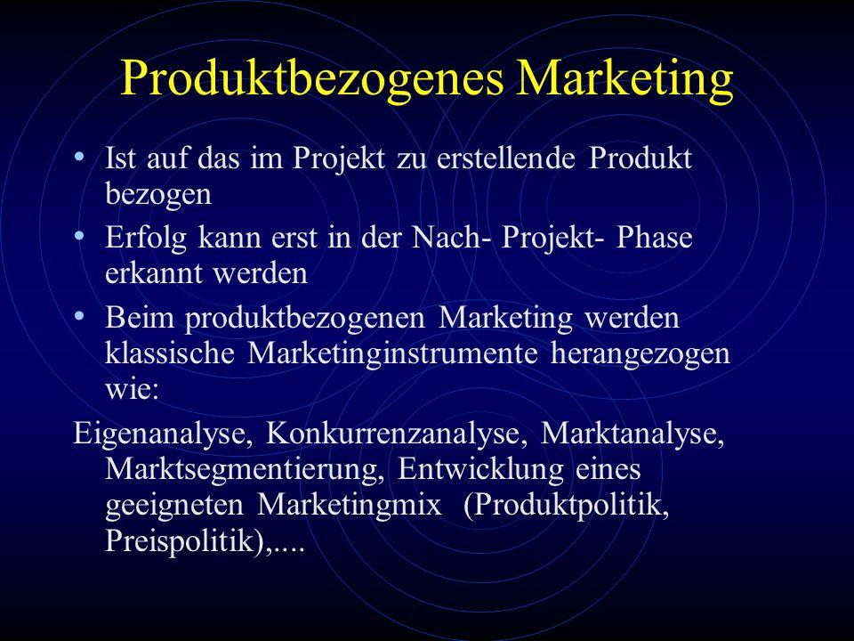 Produktbezogenes Marketing Ist auf das im Projekt zu erstellende Produkt bezogen Erfolg kann erst in der Nach- Projekt- Phase erkannt werden Beim prod
