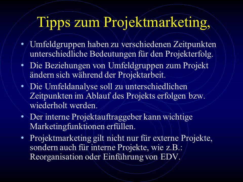 Tipps zum Projektmarketing, Umfeldgruppen haben zu verschiedenen Zeitpunkten unterschiedliche Bedeutungen für den Projekterfolg. Die Beziehungen von U