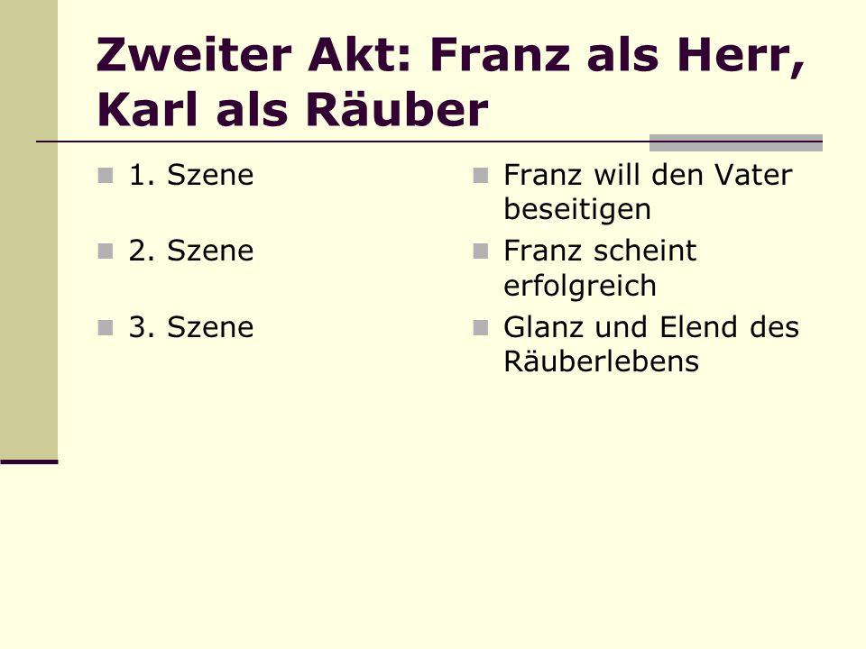 Zweiter Akt: Franz als Herr, Karl als Räuber 1. Szene 2. Szene 3. Szene Franz will den Vater beseitigen Franz scheint erfolgreich Glanz und Elend des