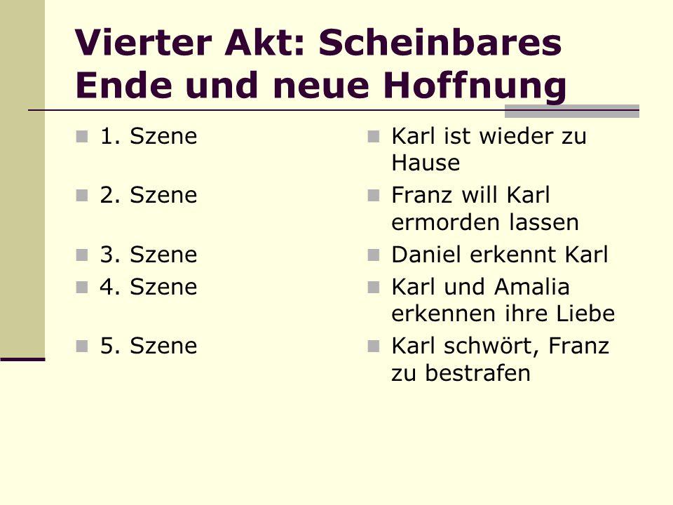 Vierter Akt: Scheinbares Ende und neue Hoffnung 1. Szene 2. Szene 3. Szene 4. Szene 5. Szene Karl ist wieder zu Hause Franz will Karl ermorden lassen