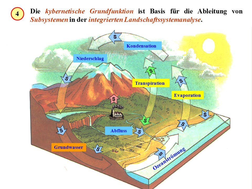 Grundwasser Kondensation Niederschlag Transpiration Evaporation Abfluss Ozeanströmung S S S S S S S S S S S S Die kybernetische Grundfunktion ist Basis für die Ableitung von Subsystemen in der integrierten Landschaftssystemanalyse.