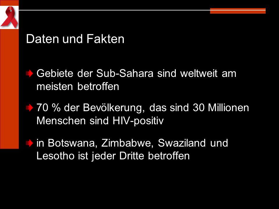 Daten und Fakten Gebiete der Sub-Sahara sind weltweit am meisten betroffen 70 % der Bevölkerung, das sind 30 Millionen Menschen sind HIV-positiv in Bo