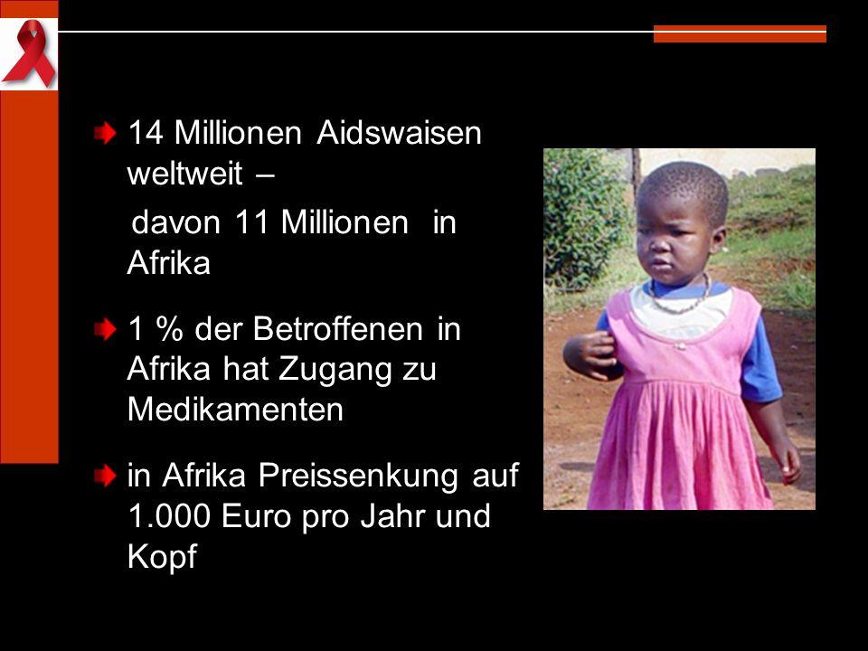 14 Millionen Aidswaisen weltweit – davon 11 Millionen in Afrika 1 % der Betroffenen in Afrika hat Zugang zu Medikamenten in Afrika Preissenkung auf 1.
