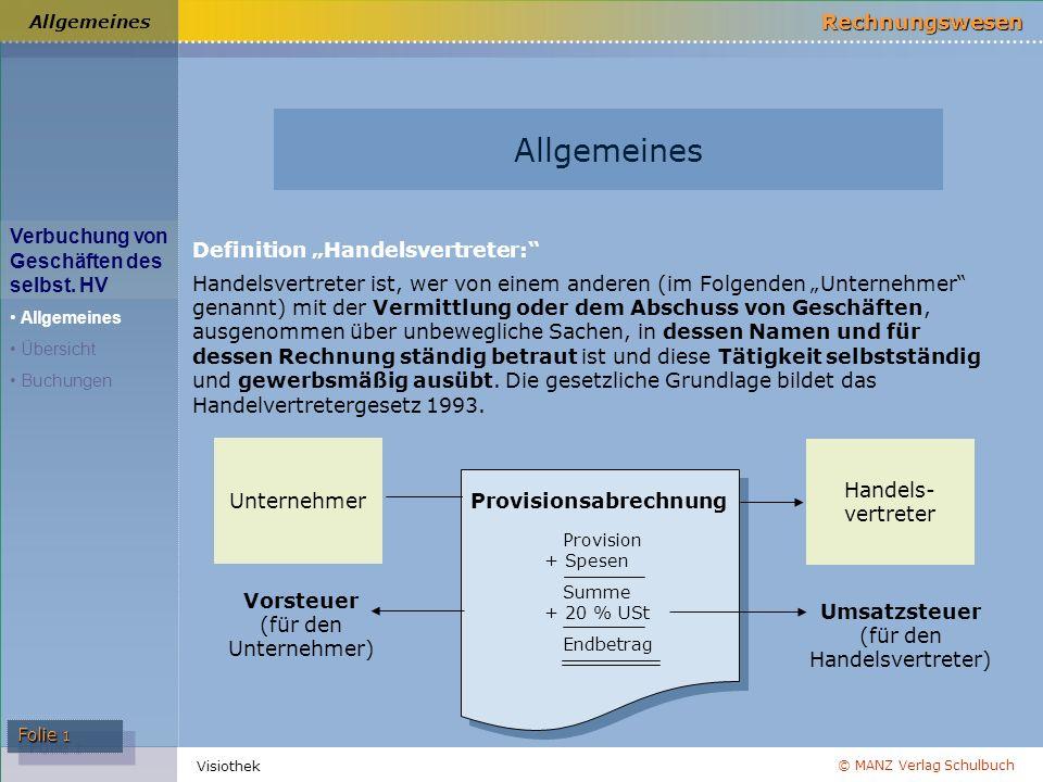 © MANZ Verlag Schulbuch Rechnungswesen Folie 1 Visiothek Verbuchung von Geschäften des selbst. HV Allgemeines Übersicht Buchungen Allgemeines Definiti