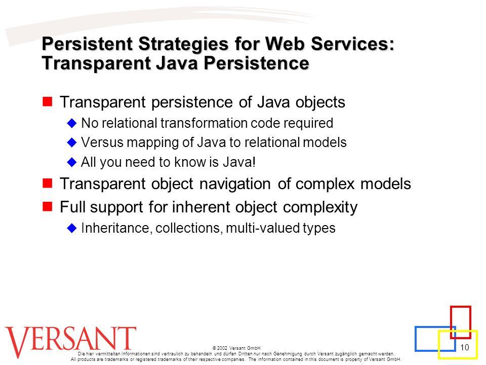 10 © 2002 Versant GmbH Die hier vermittelten Informationen sind vertraulich zu behandeln und dürfen Dritten nur nach Genehmigung durch Versant zugängl