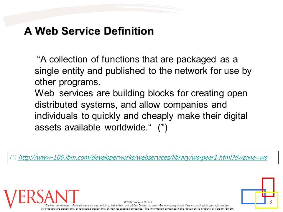 3 © 2002 Versant GmbH Die hier vermittelten Informationen sind vertraulich zu behandeln und dürfen Dritten nur nach Genehmigung durch Versant zugänglich gemacht werden.