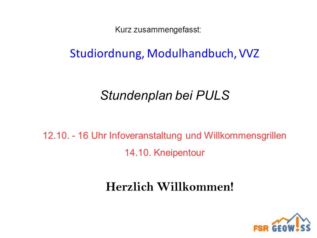 Kurz zusammengefasst: Studiordnung, Modulhandbuch, VVZ Stundenplan bei PULS 12.10. - 16 Uhr Infoveranstaltung und Willkommensgrillen 14.10. Kneipentou