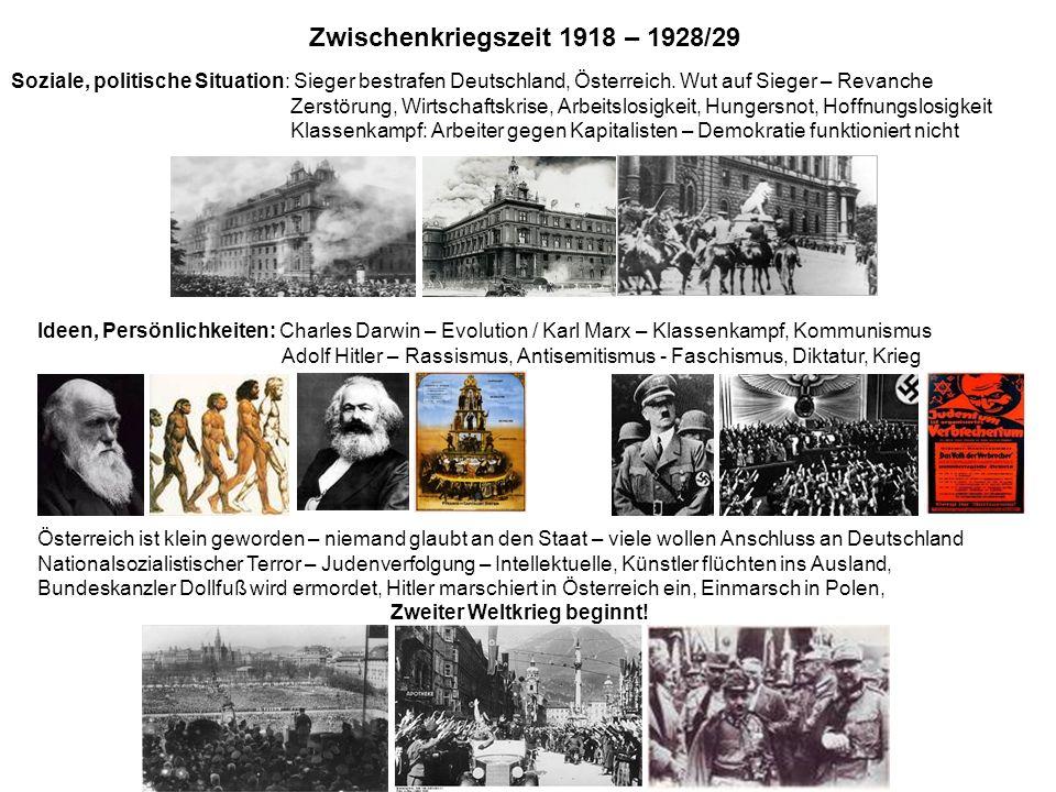 Soziale, politische Situation: Sieger bestrafen Deutschland, Österreich. Wut auf Sieger – Revanche Zerstörung, Wirtschaftskrise, Arbeitslosigkeit, Hun