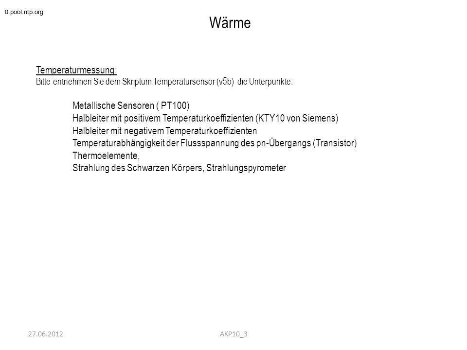 """27.06.2012 Wärme Wärmequellen und Wärmetransport Bitte entnehmen Sie meinem Skriptum """"Halbleiterherstellung die Unterpunkte: 3.Erwärmung und Kühlung (Seite 14/20 – 20/20) Zuverlässigkeit und Lebensdauer (von Halbleiterbauelementen) Wärmeleitung im festen Körper Wärmeübergang vom Kühlkörper in die Luft ( Konvektion) Wärmestrahlung Wärmeableitung bei Widerständen Wärmewiderstand bei Großkühlkörpern 0.pool.ntp.org AKP10_3"""