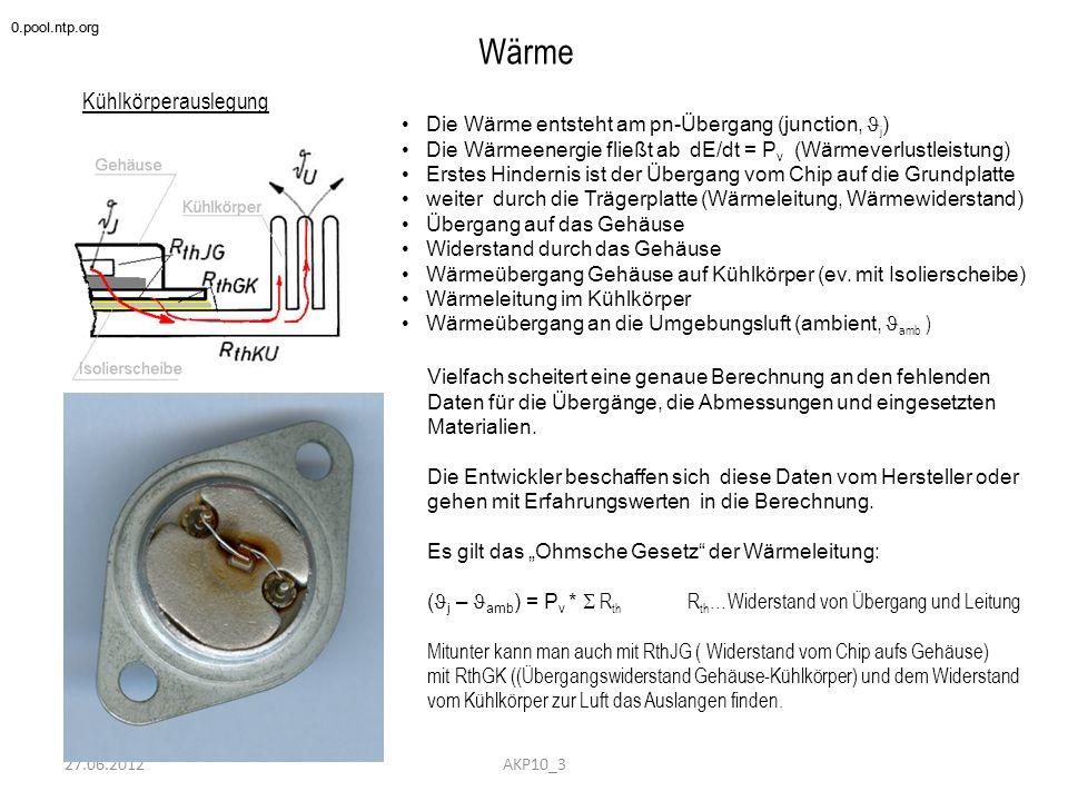 27.06.2012 Wärme Kühlkörperauslegung 0.pool.ntp.org AKP10_3 Die Wärme entsteht am pn-Übergang (junction, j ) Die Wärmeenergie fließt ab dE/dt = P v (W