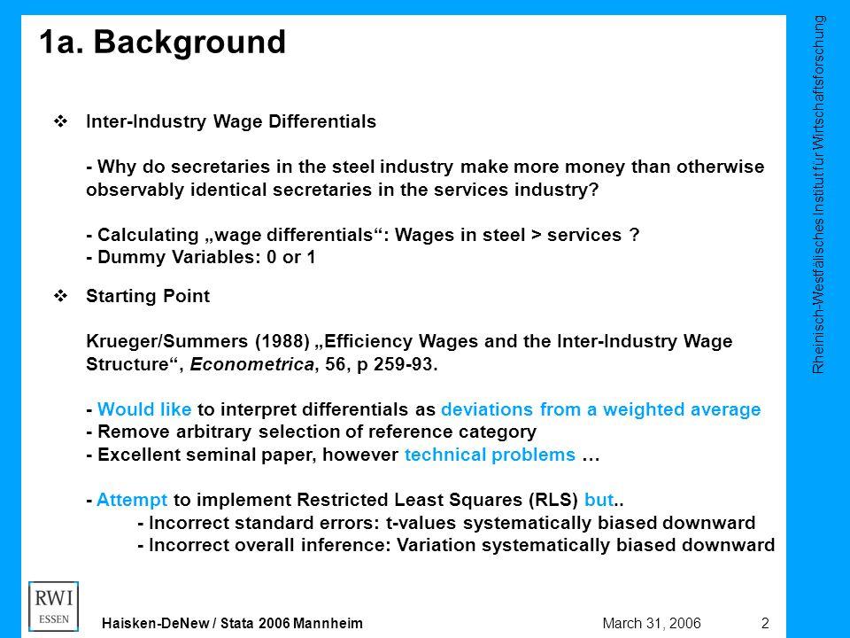 Rheinisch-Westfälisches Institut für Wirtschaftsforschung 2March 31, 2006Haisken-DeNew / Stata 2006 Mannheim 1a. Background  Inter-Industry Wage Diff