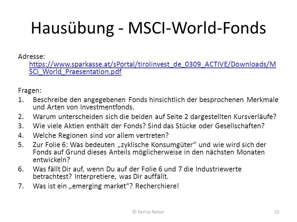 Hausübung - MSCI-World-Fonds Adresse: https://www.sparkasse.at/sPortal/tirolinvest_de_0309_ACTIVE/Downloads/M SCI_World_Praesentation.pdf https://www.
