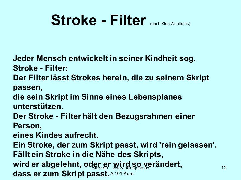 Stroke - Filter (nach Stan Woollams) Jeder Mensch entwickelt in seiner Kindheit sog. Stroke - Filter: Der Filter lässt Strokes herein, die zu seinem S